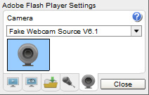 CAM4 Webcam: 5 - Select 'Webcam Simulator Source' from the dropdown list and click 'Close'.