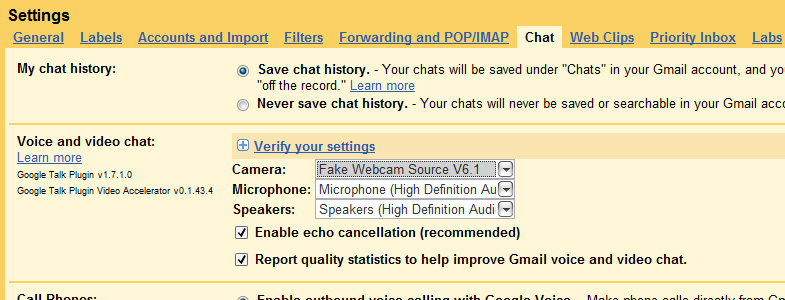 Gtalk Webcam: 3 - From 'Voice and video chat' section, select 'Webcam Simulator Source' from dropdown list and click 'Save' button
