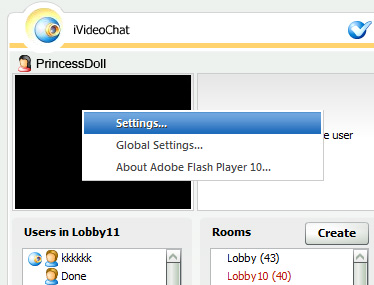 Ivideochat Webcam: 2 - Click right button on video window and select 'Settings...'.
