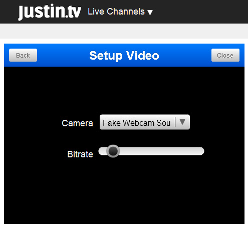 Justintv Webcam: 5 - Select 'Webcam Simulator Source V6.3' from the dropdown list and click 'Close' button.