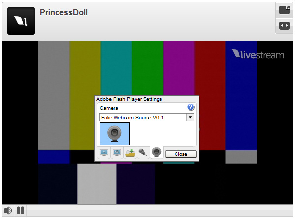 Leavstream Webcam: 4 - Select 'Webcam Simulator Source' from camera tab and click 'Close'.