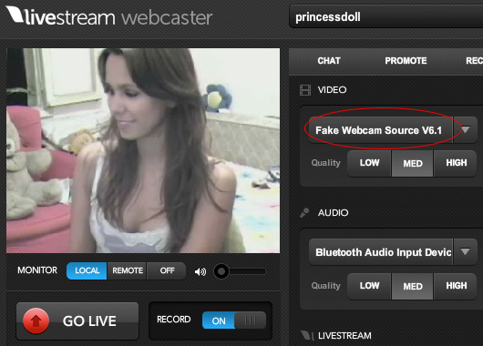 Leavstream Webcam: 5 - You can also change your camera from dropdown list of your broadcast window.