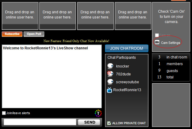 Livevideo Webcam: 3 - Click on 'Cam Settings' button.