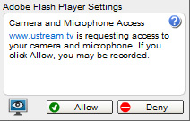 Ustreamtv Webcam: 2 - Click the 'Allow' button.